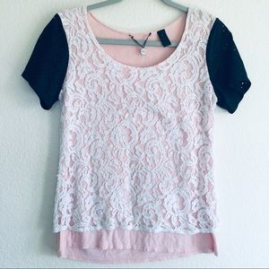 Buckle BKE Pink Lace Vegan Leather T-shirt Top